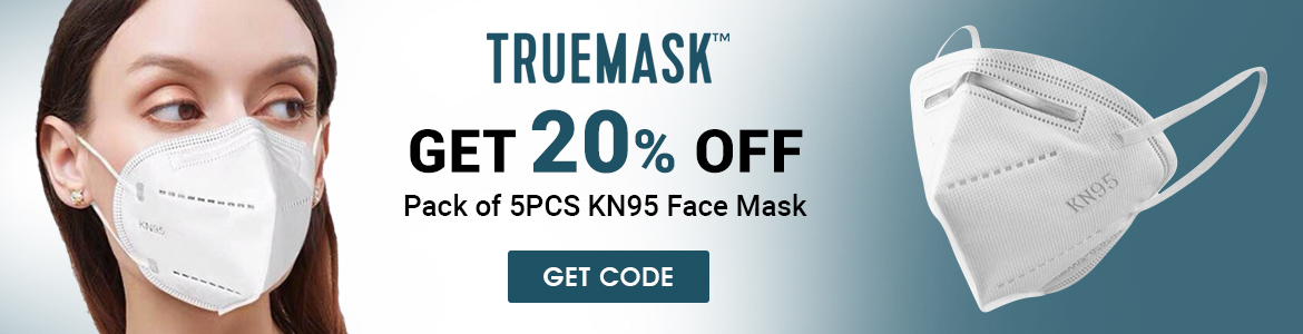 TrueMask get 20% Off pack of 5Pcs KN95 Face Mask